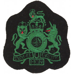 WO1 (RSM) Rank Badge (Royal Irish Rangers) Green On Black with Queen Elizabeth's Crown. Embroidered Warrant Officer rank badge