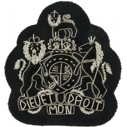 WO1 Rank Badge - No.1 Dress Size - The Rifles Black/Silver - Green with Queen Elizabeth's Crown. Bullion wire-embroidered Warran