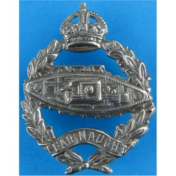 Royal Tank Regiment  with King's Crown. White Metal Other Ranks' metal cap badge