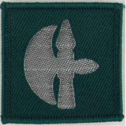 102 Logistic Brigade (Battle-Axe) Silver On Green  Woven Military Formation arm badge