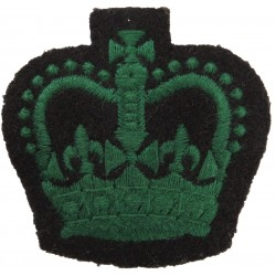 WO2 (Crown Only) Rank Badge (Royal Irish Rangers) Green On Black with Queen Elizabeth's Crown. Embroidered Warrant Officer rank