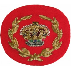 WO2 (RQMS) Rank Badge - Mess Dress Size Gold On Scarlet with Queen Elizabeth's Crown. Bullion wire-embroidered Warrant Officer r