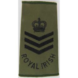 Colour Sergeant (Royal Irish Regiment) Olive Rank Slide with Queen Elizabeth's Crown. Embroidered NCO or Officer Cadet rank badg