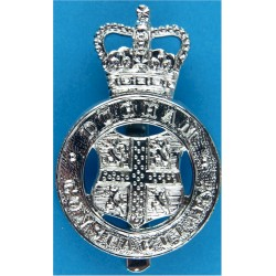 Durham Constabulary - Coat Of Arms Centre Cap Badge with Queen Elizabeth's Crown. Chrome-plated Police or Prisons hat badge