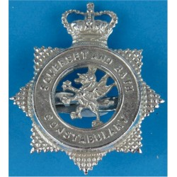 Somerset & Bath Constabulary - Voided Star-Shape 1967-1974 with Queen Elizabeth's Crown. Chrome-plated Police or Prisons hat bad