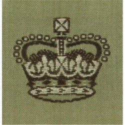 Australian Army Major's Rank Crown On Stone Square with Queen Elizabeth's Crown. Woven Officer rank badge