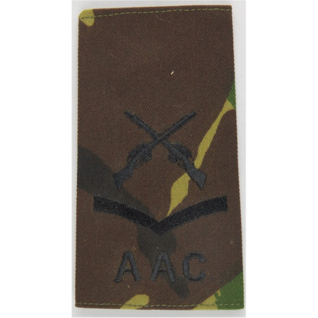 Lance-Corporal AAC + Crossed Rifles (Army Air Corps) Black On DPM Camo  Embroidered NCO or Officer Cadet rank badge