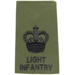 WO2 (Crown Only) Light Infantry - Black On Olive Rank Slide with Queen Elizabeth's Crown. Embroidered Warrant Officer rank badge