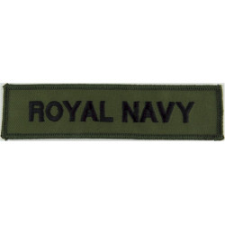 Royal Navy - Words - Chest Title Black On Olive Green  Embroidered Naval Branch, rank or miscellaneous insignia