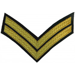 Corporal's Rank Chevrons - Royal Marines Gold On Lovat Green  Bullion wire-embroidered Marines or Commando insignia