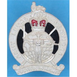 Army Legal Services 1958-1978 with Queen Elizabeth's Crown. Silver-plated and enamel Officers' metal cap badge