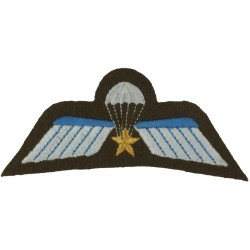 Netherlands Parachute A Wing (with Gold Star) White/ Blue On Brown  Embroidered Parachute jump wings or badge