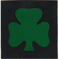 Royal Irish Regiment: 1st Bn (Shamrock/Black Square) Flat Finish  Woven Regimental cloth arm badge