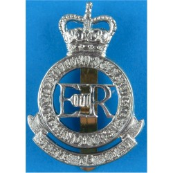 Royal Military Academy Sandhurst  with Queen Elizabeth's Crown. White Metal Other Ranks' metal cap badge