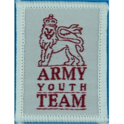 Army Youth Team Cloth Badge 50x 38mm with Queen Elizabeth's Crown. Woven Track-Suit Badge