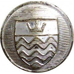 London Fire Brigade (1 Crown & Waves On Shield) 24mm - 1965-1976  Silver-plated Fire Service uniform button