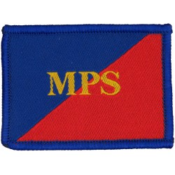 Adjutant General's Corps (Military Provost Staff) Gold MPS On Red/Blue  Woven Regimental cloth arm badge