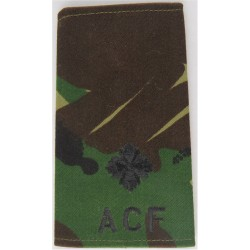 ACF Second Lieutenant (Army Cadet Force) Rank Slide Black On DPM Camo  Embroidered Officer rank badge