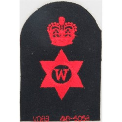 Writer (W In 6-Pointed Star) + Crown Trade - Red On Navy with Queen Elizabeth's Crown. Embroidered Naval Branch, rank or miscell