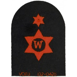 Writer (W In 6-Pointed Star) + Star Trade - Red On Navy  Embroidered Naval Branch, rank or miscellaneous insignia
