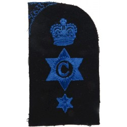 WRNS Cook (C In 6-Pointed Star) + Crown + Star Trade: Blue On Navy with Queen Elizabeth's Crown. Embroidered Naval Branch, rank