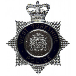West Yorkshire Police - Blue Circle Cap Badge with Queen Elizabeth's Crown. Chrome and enamelled Police or Prisons hat badge
