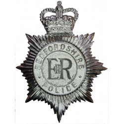 Bedfordshire Police - Not Enamelled Helmet Star with Queen Elizabeth's Crown. Chrome-plated Police or Prisons hat badge