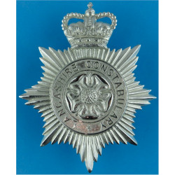 Lancashire Constabulary - Rose Centre Helmet Star with Queen Elizabeth's Crown. Chrome-plated Police or Prisons hat badge