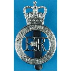 West Midlands Police - EiiR Centre - Post-1974 Cap Badge with Queen Elizabeth's Crown. Chrome-plated Police or Prisons hat badge