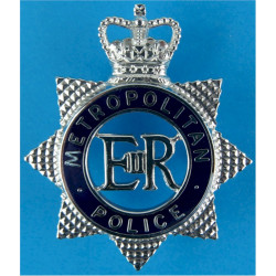 Metropolitan Police (London) - Blue Circle Cap Badge - Star with Queen Elizabeth's Crown. Chrome and enamelled Police or Prisons