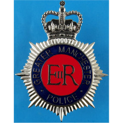 Greater Manchester Police Helmet Star - Enamel with Queen Elizabeth's Crown. Chrome and enamelled Police or Prisons hat badge
