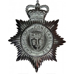 Cheshire Constabulary - Shield Centre Helmet Star with Queen Elizabeth's Crown. Chrome-plated Police or Prisons hat badge