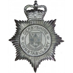 Derbyshire Constabulary - Shield Centre With Motto Helmet Star with Queen Elizabeth's Crown. Chrome-plated Police or Prisons hat