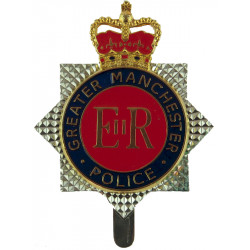 Greater Manchester Police - EiiR Centre Cap Badge- Post-1994 with Queen Elizabeth's Crown. Chrome and enamelled Police or Prison