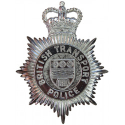 British Transport Police Helmet Star with Queen Elizabeth's Crown. Chrome-plated Police or Prisons hat badge