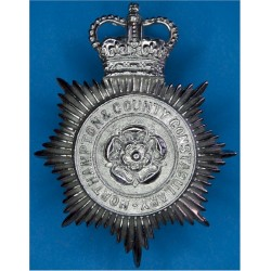 Northampton & County Constabulary Helmet Star 1966-74 with Queen Elizabeth's Crown. Chrome-plated Police or Prisons hat badge