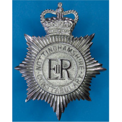 Nottinghamshire Constabulary Helmet Star with Queen Elizabeth's Crown. Chrome-plated Police or Prisons hat badge
