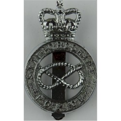 Staffordshire Police - Knot Centre - Post-1974 Cap Badge with Queen Elizabeth's Crown. Chrome-plated Police or Prisons hat badge