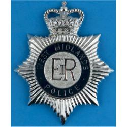 West Midlands Police - EiiR Centre - Post-1974 Helmet Plate Enamel with Queen Elizabeth's Crown. Chrome and enamelled Police or