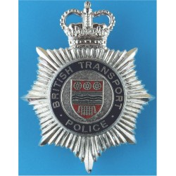 British Transport Police - Enamelled Circle & Shield Helmet Star with Queen Elizabeth's Crown. Chrome and enamelled Police or Pr