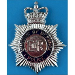 Ministry Of Defence Police Helmet Star - Enamel with Queen Elizabeth's Crown. Chrome and enamelled Police or Prisons hat badge