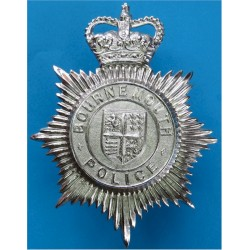 Bournemouth Police - Shield Centre Helmet Star 1952-67 with Queen Elizabeth's Crown. Chrome-plated Police or Prisons hat badge