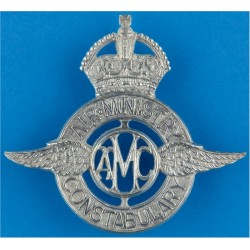 Air Ministry Constabulary - Voided Pre-1952 with King's Crown. Chrome-plated Police or Prisons hat badge