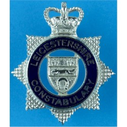 Leicestershire Constabulary - Senior Officers Cap Badge- Pre-1994 with Queen Elizabeth's Crown. Chrome and enamelled Police or P