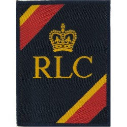 Royal Logistic Corps (98 X 72mm) Track-suit badge with Queen Elizabeth's Crown. Woven Track-Suit Badge