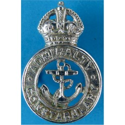 Admiralty Constabulary Collar Badge 1949-52 with King's Crown. Chrome-plated UK Police or Prison insignia