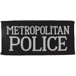 Metropolitan Police (White Words On Black Rectangle) 100mm X 49mm  Woven UK Police or Prison insignia