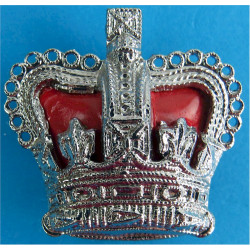 Superintendent's Rank Crown - Red Enamelled Cushion 32.5mm Wide with Queen Elizabeth's Crown. Chrome and enamelled UK Police or