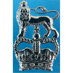 Ministry Of Defence Police - Lion Over Crown FL Collar Badge with Queen Elizabeth's Crown. Chrome-plated UK Police or Prison ins