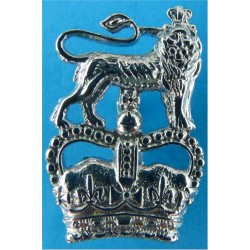 Ministry Of Defence Police - Lion Over Crown FR Collar Badge with Queen Elizabeth's Crown. Chrome-plated UK Police or Prison ins